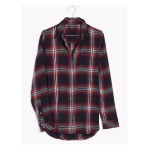 Madewell Rollins Ex Boyfriend Shirt Plaid Black L